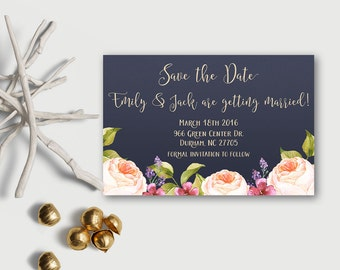 Save the date Printable, Floral Save the Date Card, Navy Save the Date, Boho Save The Date, Printable Save the Date Card, Digital File