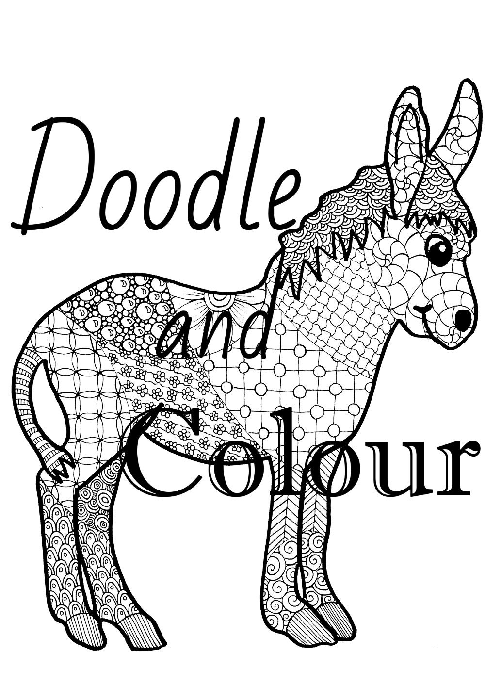 donkey doodle colouring page zentangle style art
