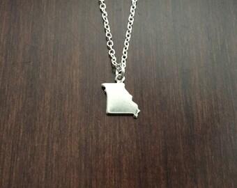 Missouri Necklace, Missouri, silver Missouri necklace, Missouri pendant, state necklace, state pendant, state jewelry, silver necklace