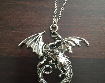 dragon, dragon necklace, dragon jewelry, silver dragon, silver dragon necklace, dragon pendant, silver necklace, necklace