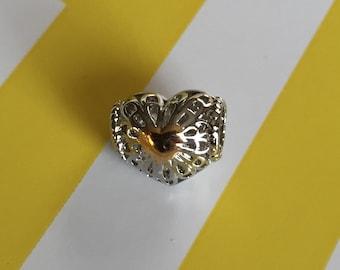 Gold Heart Charm, Pandora Bracelet Charm, Pandora, Pandora Charms, Pandora Beads, European Charms, European Beads, European Charm Bracelet