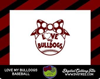 Bulldog SVG Baseball Mom SVG Baseball SVG svg files dxf files silhouette files files for cricut digital cut files polka dot svg