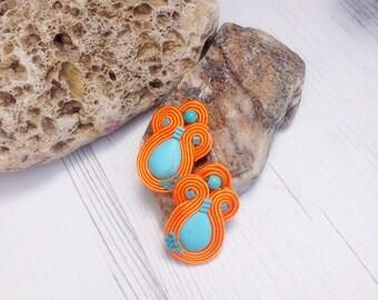 Orange Turquoise Soutache Earrings-Crystal Gemstone Earrings-Turquoise Earrings Jewellery-Hippie Boho Earrings-Ethnic Beaded Dangle Earrings