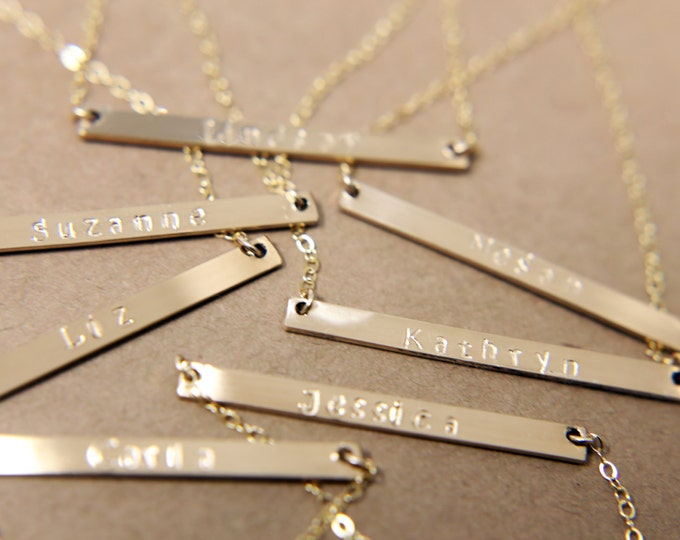 Personalized Skinny Name Bar necklace - Personalized gold bar necklace // Monogram Jewelry EP026