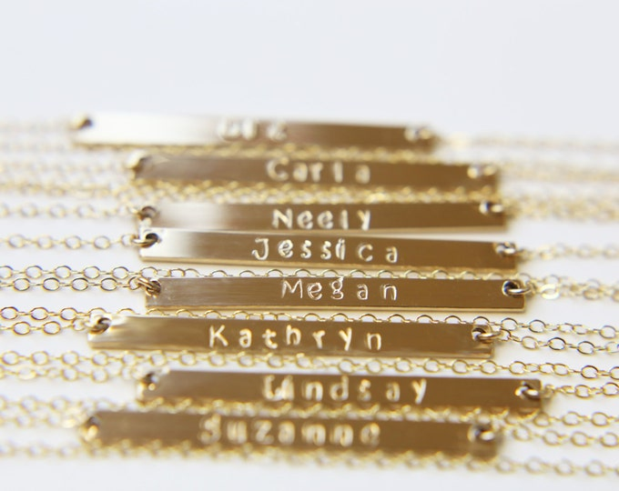 Name Bar Necklace - Personalized Gold bar Necklace in Gold filled or Sterling silver // Skinny Personalized Monogram Name Bar Jewerly  gift