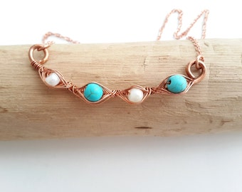 Turquoise and pearl necklace - Pearl necklace Turquoise necklace Mothers necklace Gift for mother Mothers day gift Pearl jewelry Copper wire