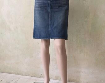 Dark Blue 90s Vintage DIESEL Jeans Denim Skirt W 29