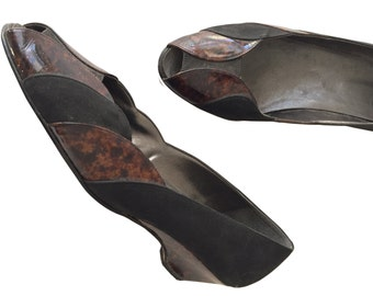 Black & Brown 80s Leather Mid Heel Pumps Size eu 41 us 10