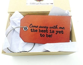 Luggage Tags Anniversary Husband Wife Gift, Personalized Travel Tag, Baggage Tag, Come Away With Me, Luggage and Travel, Stocking Stuffer