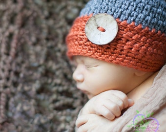 Cute Crochet Pumpkin & Grey Baby Boy Hat w Wood button, Photo Prop Beanie