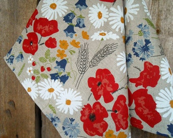 Meadow Red Poppy Kitchen Towel Dish Daisies Cornflowers Linen Hand Towel Gift For Mother Linen Fabric Linen Towel Flower Towel Tea Towel