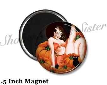 Pinup Girl Magnet - Fridge Magnet - Witch Magnet - 1.5 Inch Magnet - Kitchen Magnet - Pin-Up Girl