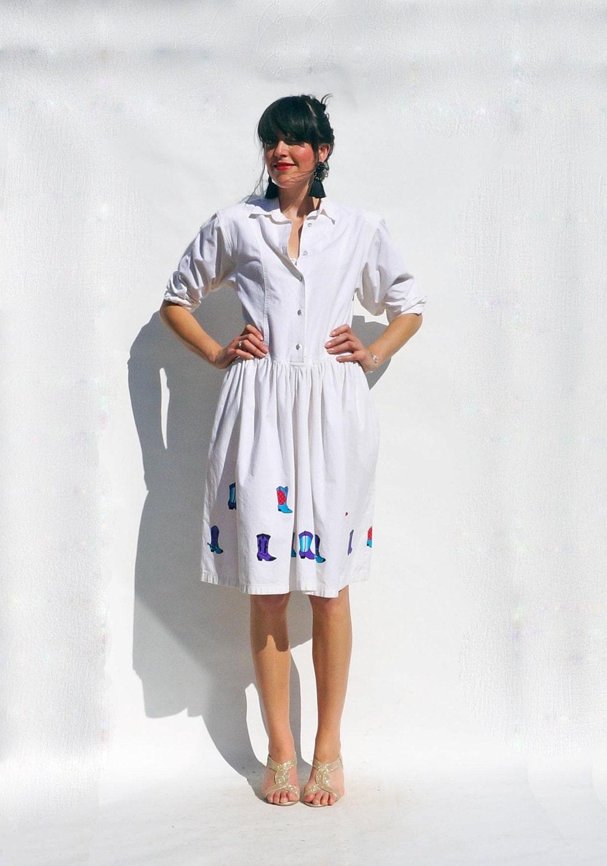 White Shirt Dress Vintage 80s White Long Sleeved 80s Shirt