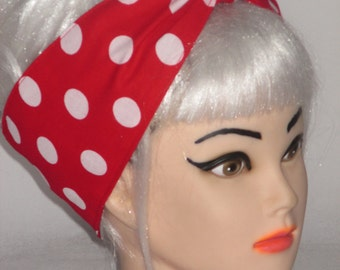White Red Polka dots Rockabilly Head Scarf 50 s Pinup Vintage Retro Bow Rosie the Riveter WIDE 4""