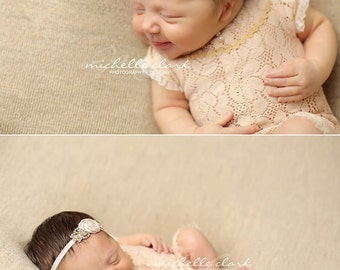 6M Lace Romper Prop; Peachy Beige; Baby Girl Romper; Sitter Size Outfit; Baby Girl Outfit Prop; Newborn Photo Prop; Photography Prop