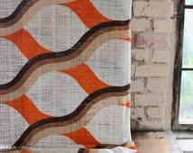 70s fabric big pattern by the yard, orange, brown, 1970s deco fabri