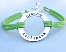 Hear My Soul Speak Bracelet, Faux Suede Leather Cord, Hear My Soul Speak, Shakespeare Love Quote Stainless Steel Charm, Gift For Her, ST755