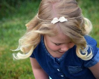 Natural Tieback Headband in Cream, Newborn Photography Prop, Natural Jute and Lace Tieback Headband, Baby Photography Prop, Baby Headband