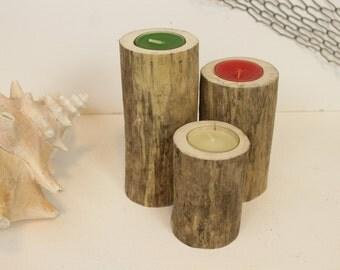Driftwood Tea Light Candle Holders, Nautical Centerpiece- Tiered Set of 3, Driftwood Candle Holders