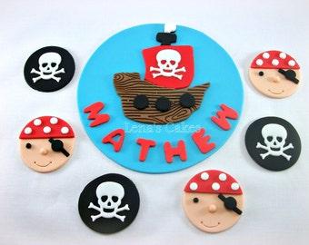 Pirate Party Set - 1 Edible Fondant Cake Topper & 12 Cupcake Fondant Toppers, Pirate Birthday, Boy Cupcake Topper, Boy Birthday Topper
