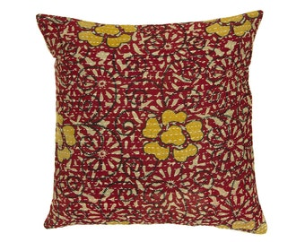 Kantha Cushion Cover - Red with Ochre Design 1