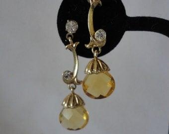 Vintage Orange Tear Drop Faceted Crystals Earrings.