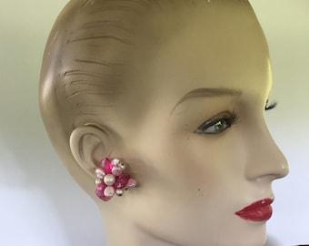 West Germany Pink Beaded Clip On Earrings