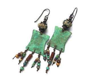 Tribal Jewelry, Lampwork Earrings, Unusual Earrings, Artisan Jewelry, Copper Earrings, Boho Jewelry, Bohemian Jewelry, Tribal Earrings