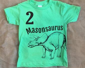 Triceratops Personalized Kids Dinosaur TShirt - Customized Birthday Shirt -Dinosaur Birthday Shirt- Toddler Dinosaur Shirt - Boys Dinosaur
