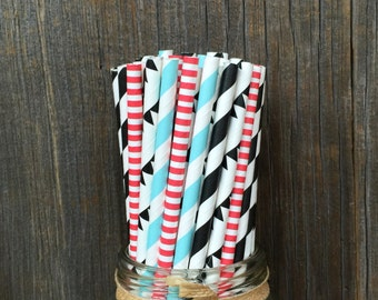 100 Bowling Themed Straws, Red, Light Blue, Black Banner Paper Straws, Birthday