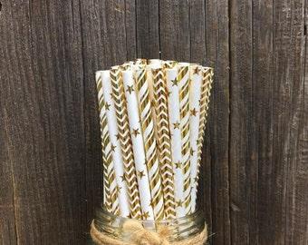 Gold Paper Straws, Gold Foil Straws, 75 Stripe Straws, Birthday Party, Baby Shower, Wedding Supply,  Free Shipping