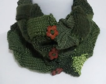 Green Cowl, Neck Warmer, Scarf, Infinity Cowl