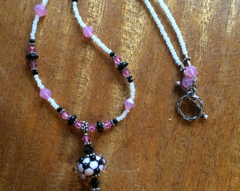 Funky Pink and Black Beaded Necklace