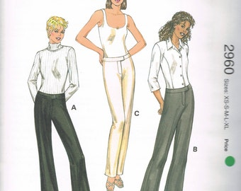UNCUT Size XS-XL Misses' Low Rise Wide Leg Pants Or Tapered Leg Pants Sewing Pattern - Kwik Sew 2960