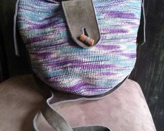 Wicker and Suede Basket Weave Shoulder Bag