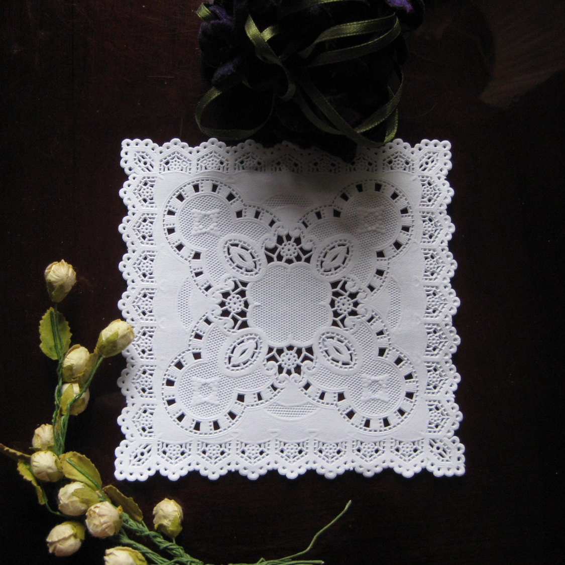 9 inch square paper doilies Also available is a medley of colorful options, disposable paper doilies work  great for  10 inch and 12 inch --the larger sizes serve as a great protective  barrier.