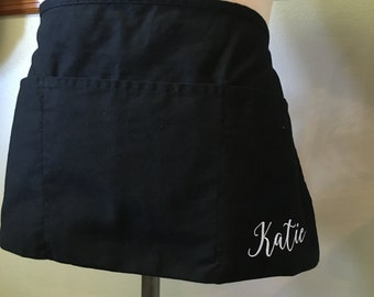 3 Pocket Custom Embroidered Black Waist Apron with Back Tie.  Personalize.  Server.  Waitress.  Waiter.  Gift.  Restaurant Staff.