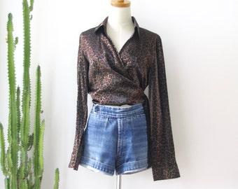 90s leopard print wrap shirt. Cropped Sparkly wrap shirt. Chocolate animal print shirt. Romantic wrap shirt. Witchy woman. Cross over shirt