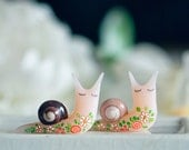 Tattooed snail, Polymer clay magnet, Miniature snail, polymer clay figurines, collectible figurines