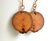Natural Wooden Earrings, Slovenian Beech Wood Earrings, Bronze Ear Wire