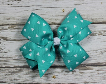 Tropic Ribbon with White Triangles Boutique Pinwheel Bow on French Barrette
