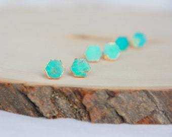 Turquoise hexagon stud earrings, Turquoise earrings, Stone studs, Modern jewelry, Small Earrings, Dainty Jewelry, Bridal Bridesmaid