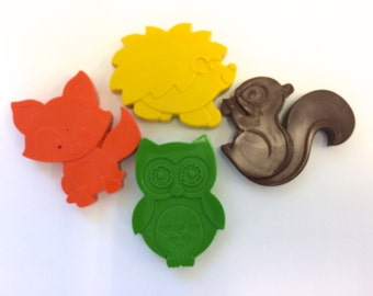 10 sets of 4 Woodland Forest Animal Crayons Party Favors - Squirrel - Hedgehog -Fox - Owl