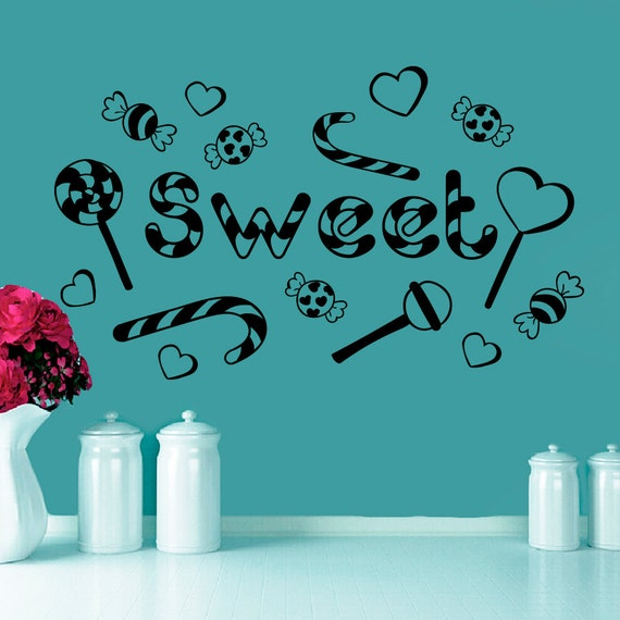 Wall decals candy sweet lollipop decal bakery shop by for Candy wall mural