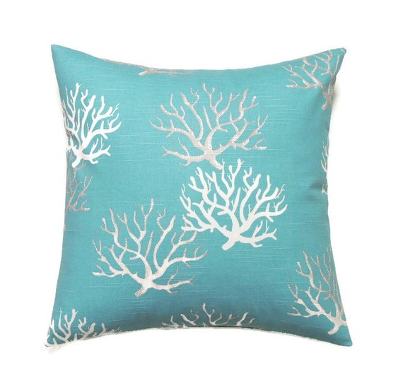 Coastal Decorative Pillow Covers : Blue Coastal Pillow 16x16 Pillow Cover Throw Pillow Coral