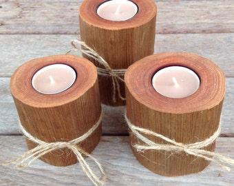 Handmade Rustic Log Tealight Set