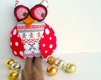 Christmas owl toy, Owl doll, Plush owl, Stuffed animal owl, Owl decoration, Fabric owl, Red white brown owl, Cloth rag doll, Holiday decor