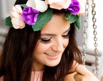 Paper Flower Crown, Summer Wedding, Coachella Crown, Music Festival, Paper Flower Halo, Flower Headband, Boho Chic,  Wedding Flower Crown