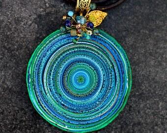 Jewelry pendant made of polymer clay green 2, pendant, polymer clay, polymer clay pendant, jewelry, boho, ethno, pendant Boho, Boho jewelry
