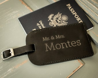 Leather Luggage Tag, Personalized Luggage Tag, Custom Luggage Tag, Custom Address Tag, Travel Accessory, Honeymoon Gift, Destination Wedding